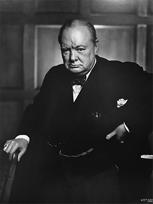 Sir Winston Churchill poses for a portrait